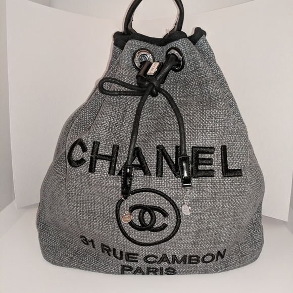 c75904cd1373 CHANEL Accessories   Grey Canvas Backpack   Poshmark
